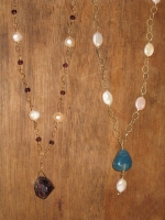 Gemstone pendants with pearls
